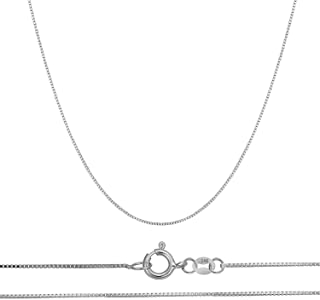 14K Solid Gold 0.45mm Thin Box Chain Pendant Necklace, 16