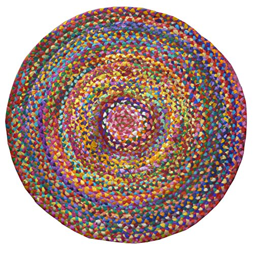 Indian Arts Geflochtener runder Chindi Flickenteppich, aus recycelter Baumwolle, Fair Trade, 120 x 120 cm