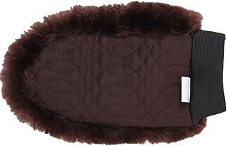 Merauno Rimning med lammskinn rengöring handskar (brun) en sida för ansiktet