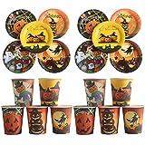 10pcs platos de papel + 10pcs vasos de papel desechables vajilla para cenas de Halloween bar carnaval tema fiesta suministros al azar estilo