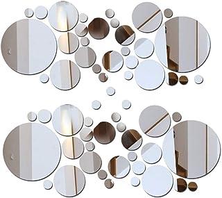 2 Sets DIY Mirror Wall Sticker Acrylic Round Mirror DIY Wall Sticker Removable Decal..