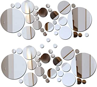 2 Sets DIY Mirror Wall Sticker Acrylic Round Mirror DIY Wall Sticker Removable Decal Acylic Crystal Vinyl Mirror Surface Art Wall Decoration for Bedroom Living Room Home Decor