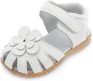 Sandales Bout Fermé en Cuir Souple pour Enfant Fille,Chaussures Premiers Pas bébé de Été