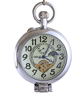 Ogle Waterproof Silver Magnifier Tourbillon Phases Moon Chain Fob Self Winding Automatic Skeleton Half Hunters Mechanical Pocket Watch