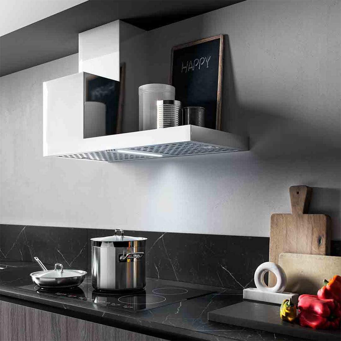 KDesign Campana extractora de pared, modelo K105, disponible en 2 tamaños, filtros de carbono, iluminación LED, diseño 100% fabricado en Italia (120 cm lado derecho)