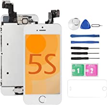 for iPhone 5S Screen Replacement [White] Full Assembly with Home Button,Camera, Drscreen LCD Display Touch Screen Digitizer Replacement for A1533,A1457,A1453,A1530, w/Repair Tool Kits Glass Protector