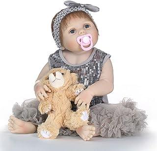 "Reborn Baby Doll, 100% Handmade Full Soft Silicone 22"" /55cm Lifelike Newborn Doll for Children Xmas Gift-RB163"