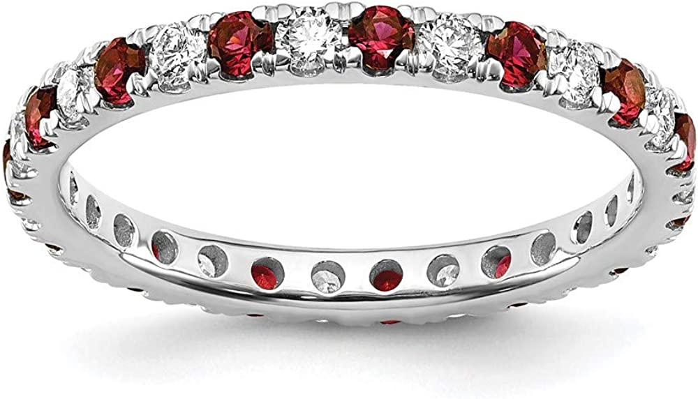 14k White Gold Lab Grown Diamond Si1/si2 G H I Created Red Ruby Eternity Wedding Ring Band Size 5.00 Gemstone Et Style Fine Jewelry For Women Gifts For Her