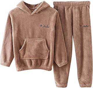 Dihope - Conjunto de pijama de forro polar para niño, sudadera con capucha y pantalón de franela, ropa de noche, cálida, g...