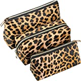 3 Pieces Makeup Bag Organizer Set Portable Travel Toiletry Bag Cosmetic Pouch PU Leather Organizer Case for Women Girls (Snake Print Pattern) (Light Leopard Print Series)