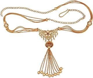 ACCESSHER White Copper Antique Traditional Kundan Flower Motif Jhumki Kamarband Waist Belt for Women