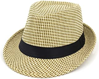 Hats and Caps Fashion Sunshade Hat Couple Husk Hat Male Female Jazz Hat Outside Travel Straw Black Cloth Decoration (Color : Khaki, Size : 56-58CM)