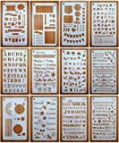 12 Pack Journal Planner Stencils, Reusable Bullet Stencils Set for A5 Notebook & Most Journals, Includes Letter Stencil, Number Stencils, Drawing Stencils, Icons, Charts, Shapes & More Templates for B