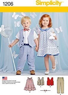 Simplicity 1206 Boy's and Girl's Toddler Pants, Vest, Dress, Bow-Tie and Belt Sewing Patterns, Sizes A (1/2-4)