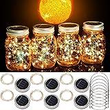 Cooo Mason Jar Solar Lights 6 Pack Lids 20 Fairy Lights Solar Powered Waterproof Lanterns Outdoor for Yard Garden Lawn Decor Lamps-Only Handmade Jars Lids Lights&6 Hanger/NOJar-Warm White