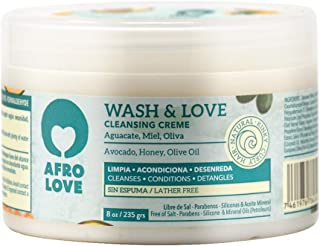 Afro Love Wash & Love Acondicionador Limpiador – Cowash para pelo rizado sin siliconas sin SLS sin parabenos ni aceites mi...