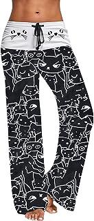 DOGZI Mujer Impresión de Gato Pantalones Anchos Pantalones de Pijama Casual Pantalones con Cordones Leggings