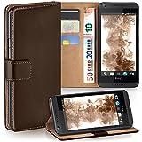 MoEx® Booklet mit Flip Funktion [360 Grad Voll-Schutz] für HTC Desire 626G | Geldfach & Kartenfach + Stand-Funktion & Magnet-Verschluss, Dunkel-Braun