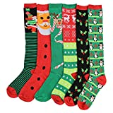 Women's Colorful & Fun Knee High Socks 6 Pack (Christmas 1)
