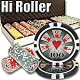 Brybelly 500 Count Hi Roller Poker Set - 14 Gram Clay Composite Chips with Aluminum Case, Playing Cards, & Dealer Button for Texas Hold'em, Blackjack, & Casino Games
