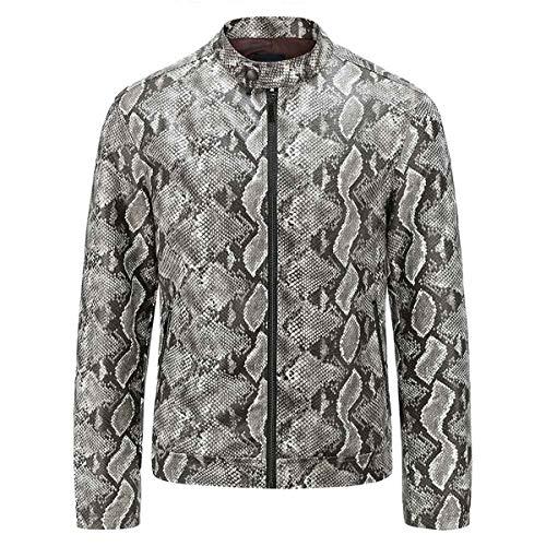 AOWOFS Herren Jacke Leder Snake Printed Lederjacke mit Stehkragen und Schlange-Muster Kunstlederjacke