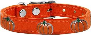 Mirage Pet Products 83-114 Or16 Pumpkin Widget Genuine Leather Dog Collar, Size 16, Orange