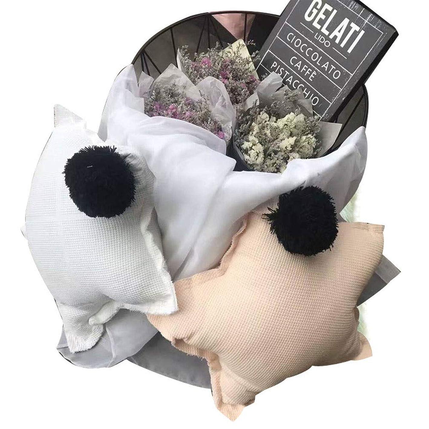 悪性の一部マイナス枕 北欧INS超大型超美しい綿ワッフル星脂肪星髪ボール枕枕裏部屋の装飾 (色 : ピンク, Size : 50*50cm)