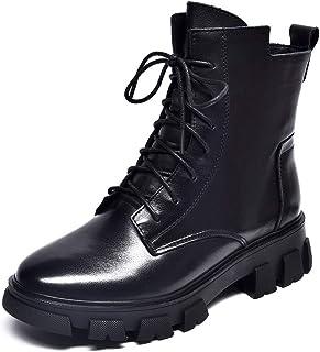 Dames enkellaarzen Martin Boots Zijrits Ronde neus Koeienhuid laarzen Cowboy Korte laarzen Dames Gevechtslaarzen,Black,36