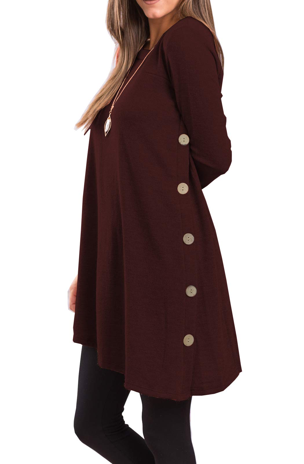 Sweater Dress - Women's Long Sleeve Pleated Loose Swing Casual Dress With Pockets Knee Length