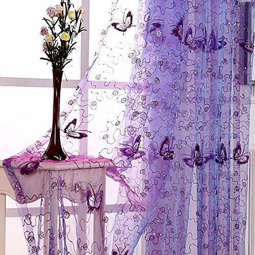 WINYY Sequins Butterfly Sheer Voile Curtain for Bedroom Kitchen Window Purple Curtain Drape Rod Pocket Top Tulle Gauze 1 Panel 40 Inch Wide 63 Inch Long