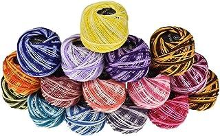 16pcs Crochet Thread Set 16 Colors Cotton Yarn Thread Ball for DIY Craft Embroidery Crochet Cross Stitch Needlepoint (Asso...