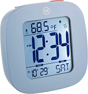MARATHON CL030058BL Compact Alarm Clock with with Snooze, Light Feature, Temperature and Date - Blue - Batteries Included