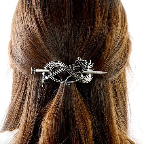 Viking Dragon Hair Hairpins Clips- Norse Celtic Knot Hair Accessories Hair Slide Hair Barrettes Irish Hair Decor for Long Hair Jewelry Braids Hair Stick With Dragon Design (AN-B2)