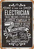 Joycenie Tin Sign New Aluminum Metal Sign Crazy Electrician 8x12 Inch