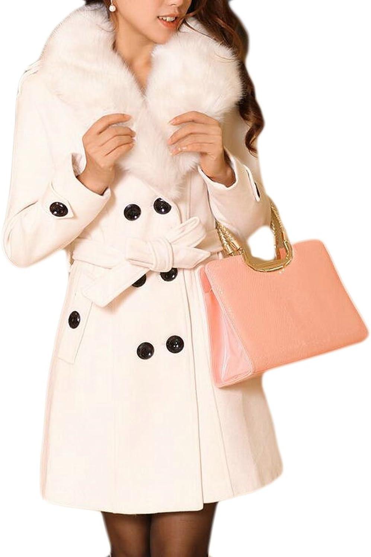 UUYUKWomen Winter Faux Fur Collar Thicken Warm Pea Coat