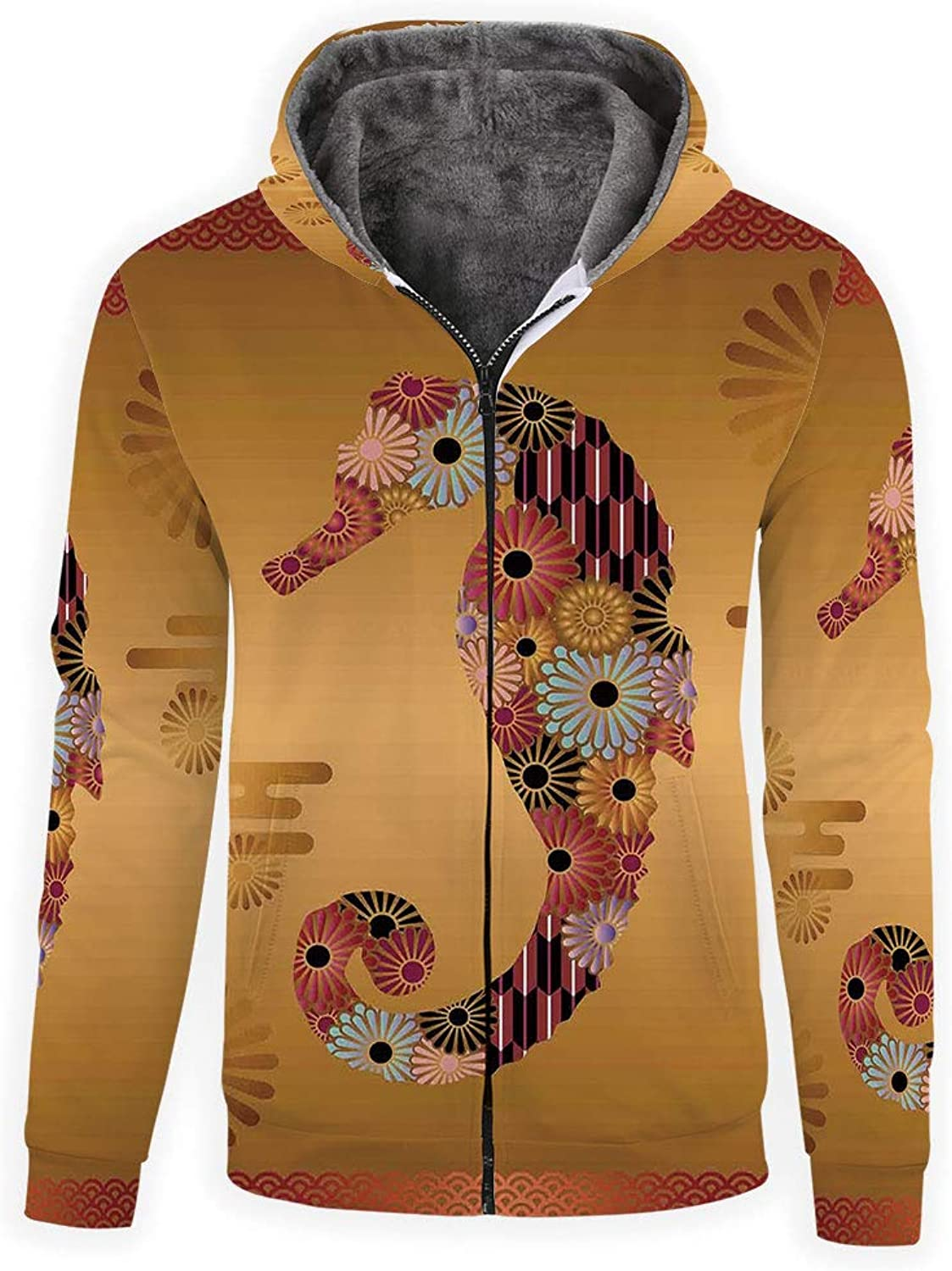 IPrint Men's Polyester FullZip Athletic Hoodie Animal Decor