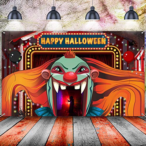 Happy Halloween Decorations, Large Evil Clown Sign Background Banner Backdrop Scene Setters for Horror Circus Carnival Theme Halloween Party Wall Decorations, 72.8 x 43.3 Inch