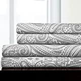 Sweet Home Collection 4 Piece 1800 Thread Count Egyptian Quality Deep Pocket Bed Sheet Set, Queen, Paisley Gray