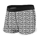 Men 'S Underwear Sports Boxershorts, einfarbiges Woodland-Muster mit schwarzer Palme auf weißem Hintergrund Größe S MBF-107