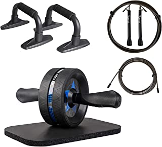 Syntus Upgraded 6-in-1 AB Wheel Roller with Knee Pad Push Up Bars Handles Grips Adjustable Skipping Jump Rope, Home Gym Workout Exercise Equipment for Men Women Boxing MMA Fitness Training