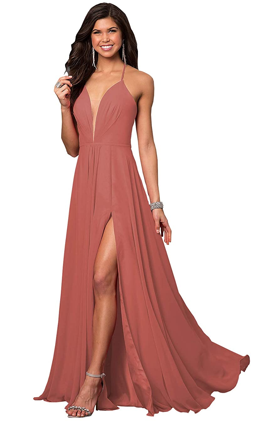 Women's Deep V Neck Halter Sash Chiffon Ruched Bridesmaid Dresses Long Formal Prom Gowns with Side Slit