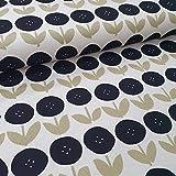 Schickliesel Canvas Meterware Blumen beige/schwarz