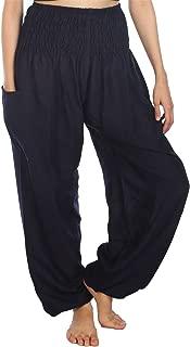 LOFBAZ Women's Rayon Print Smocked Waist Boho Harem Pants