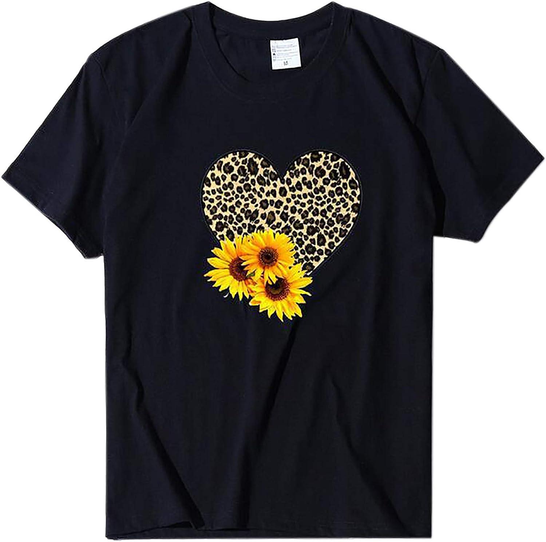 POLLYANNA KEONG Womens Tshirts Graphic,Valentine's Day Shirt for Womens Cute Gnomes T-Shirt Love Heart Printed Shirts Short Sleeve Graphic Tees Tops Black