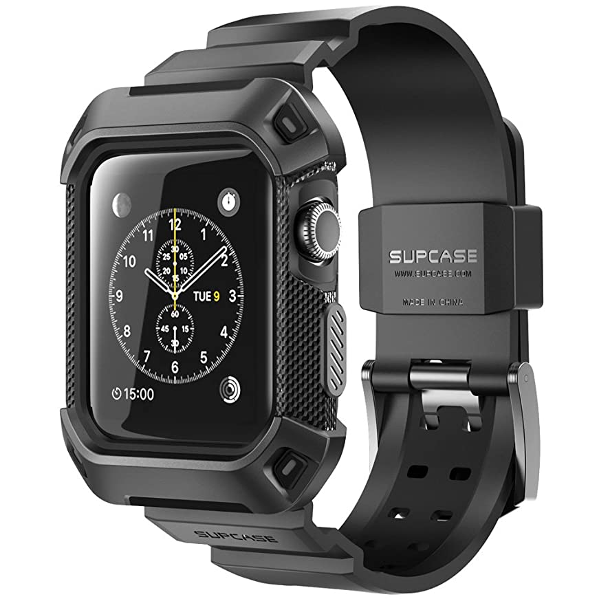 対処チーズ無駄にSUPCASE Apple Watch 42mm ケース バンド 一体 落下衝撃 吸収 装着簡単 Apple Watch Series 3/2/1対応 黒