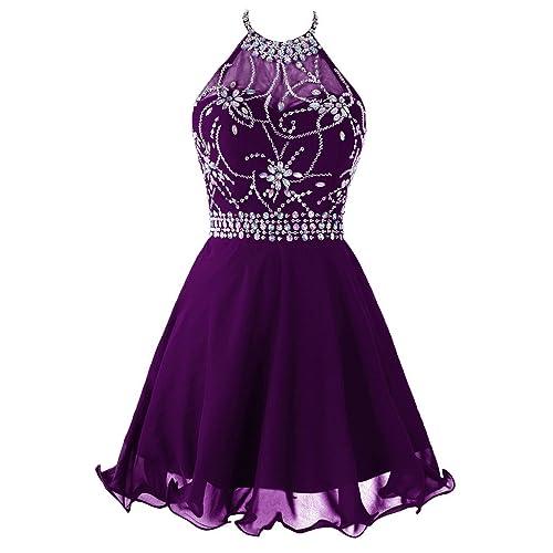 c50023d243 Topdress Women s Short Beaded Prom Dress Halter Homecoming Dress Backless