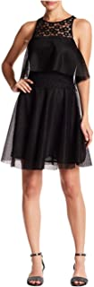 Women's Lace Front Popover Dress, Black, Size 4