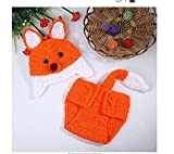 Bei Wang Newborn Baby Photography props Fox outfit Girl and Boy fatto a mano a maglia cappello