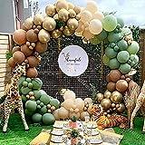 Nebee Safari Jungle Theme Kit de arco de globos, globos de oro verde y café para decoraciones de fiesta de cumpleaños, decoraciones de boda, fiesta de graduación