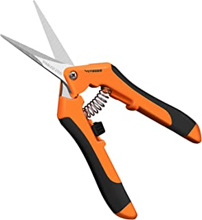 VIVOSUN 6.5 Inch Gardening Hand Pruner Pruning Shear with Straight Stainless Steel Blades Orange